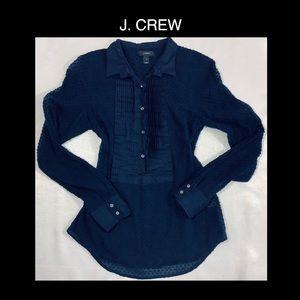 😍J. CREW Navy Half Button Up😍 Size 2